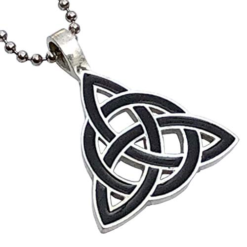 Celt Celtic Jewelry Black Triquetra Trinity Knot Norse Viking Pagan Magic Wicca Wiccan Witch Protection Amulet Pewter Men's Women's Pendant Necklace Charm for men women w Silver Ball chain