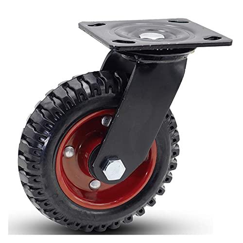 GGCG 6'Rueda giratoria de Goma sólida de Luna Industrial de Servicio Industrial sirfante 330 Lbs / 150 kg de Carga de Carga con Vetas de neumáticos (Color : 6 Inch Swivel)