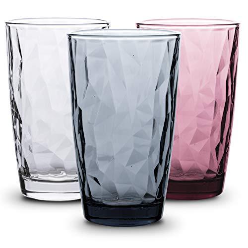 BORMIOLI ROCCO Diamond Bunte Gläser Set 6 teilig - 470ml - Trinkgläser bunt, Wassergläser Set, Trinkglas groß, Trinkgläser farbig