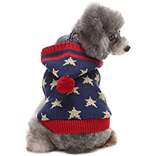 wocharm Pet Dog Christmas Sweater Puppy Cat Winter Clothes Reindeer Warm Jumper Coat Knitwear Apparel (XL, Red And Blue Stars):Viralbuzz