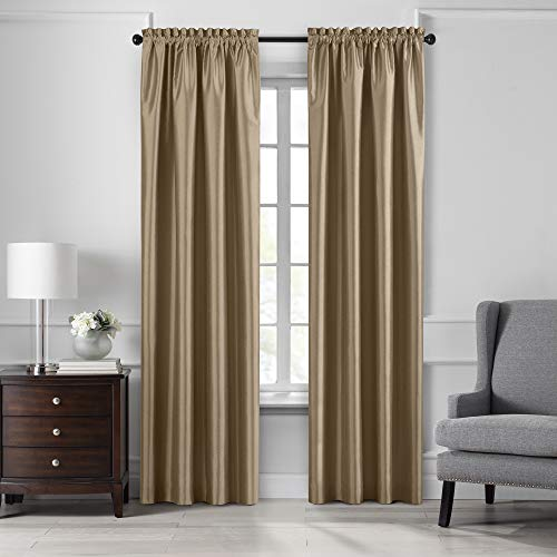 "Elrene Home Fashions Colette Faux Silk Blackout Window Curtain Panel, 52"" x 84"" (1, Gold"