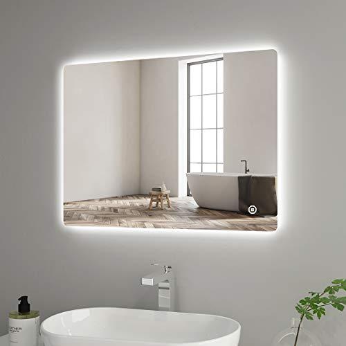 Heilmetz Espejo de baño LED 80 x 60 cm, espejo de baño con interruptor táctil + 3 colores de luz regulable IP44, bajo...