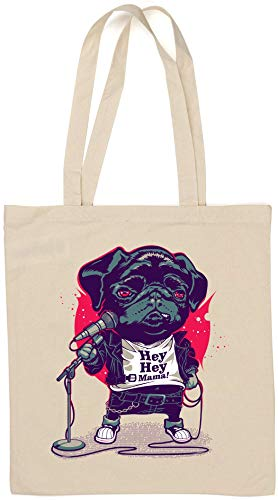 Hey Hey Mama Stand Up Comedian Pug Natural Cotton Tote Bag