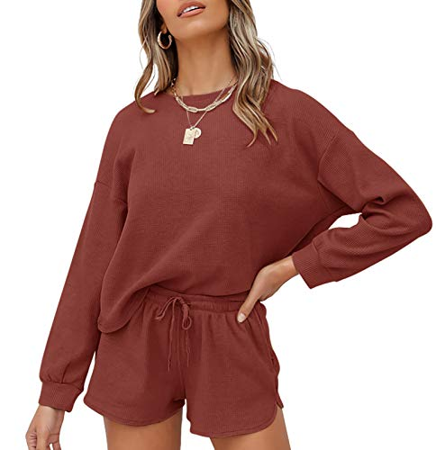 ZESICA Women's Waffle Knit Long Sleeve Top and Shorts Pullover Nightwear Lounge Pajama Set with Pockets Brickred