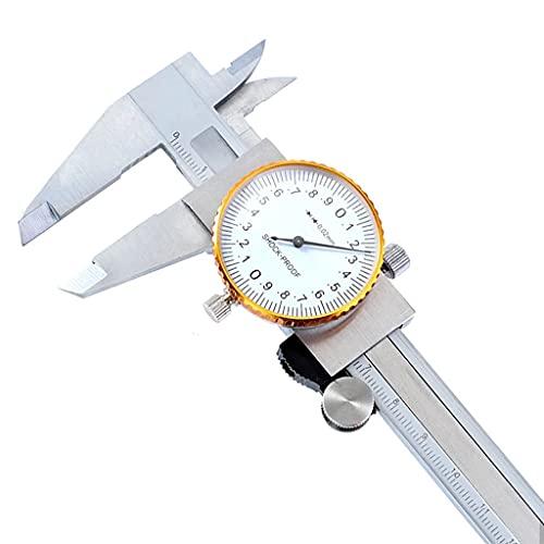 YWSZJ 0-150mm / 0.02 Calibrador de dial Acero Inoxidable Vernier CALIPADORES A Prueba de Golpes Medidor de métricos