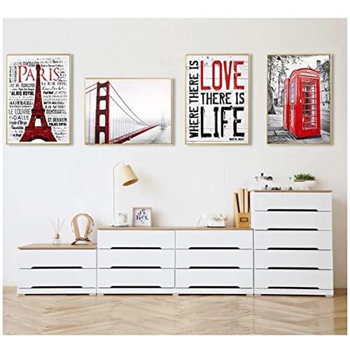 VVBGL Poster de la Cabina telefónica de Londres Impresiones Edificio Rojo Lienzo Pintura Torre Eiffel Arte de la Pared Decoraciones de Pared para la Salon de Estar Hogar 40x60cmx4 Sin Marco