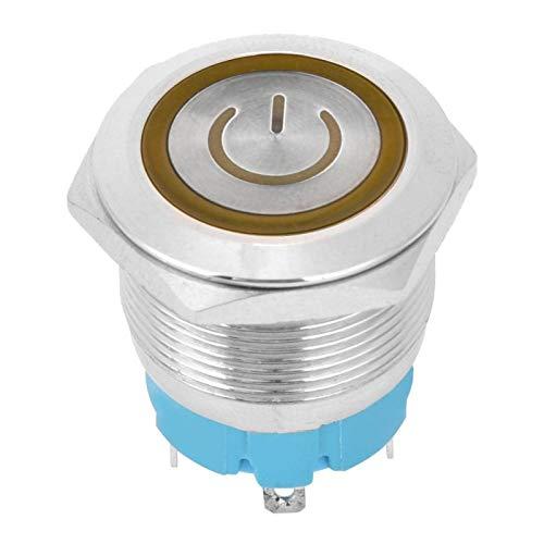 Interruptores de botón 2PCS con letrero de luz de encendido Interruptor de botón pulsador momentáneo Cabeza plana 22 mm IP65 para modificación mecánica automática(yellow)