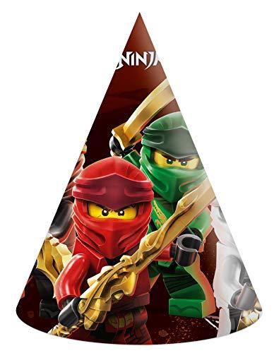 Procos 92245 - Papphüte, Lego Ninjago, 6 Stück, Kopfbedeckung, Geburtstag, Mottoparty