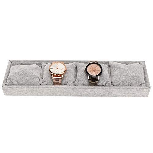 Exblue Aufbewahrungsboxen für 4-Uhr-Uhren, Schmuckvitrine für Herren und Damen, Organizer-Uhrenvitrine für Aufbewahrungs- und Display-Armreifen, grau