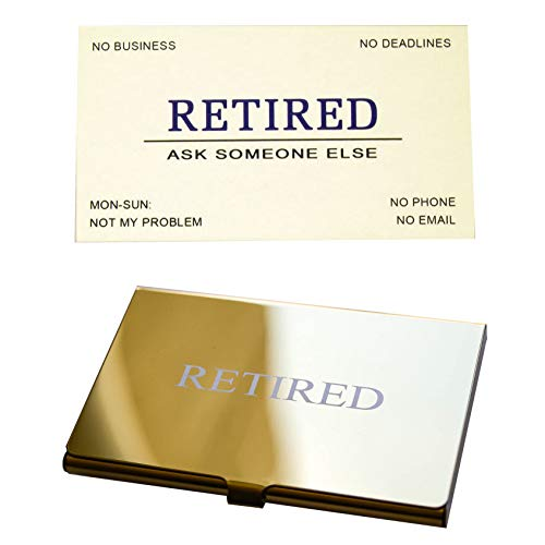RXBC2011 Retired Business Cards Funny Retirement Gift (Pack of 50/With Gold Mirror Stainless Steel Case) For Retired Men, Women, Coworkers, Employees, Boss, Friend, Colleague