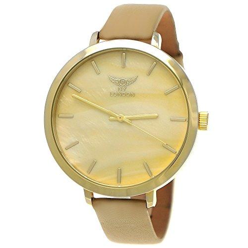 Elegante NY London Damen-Uhr Analog Quarz Leder Armband-Uhr Klassisches Design Beige Gold mit Perlmutt Ziffernblatt
