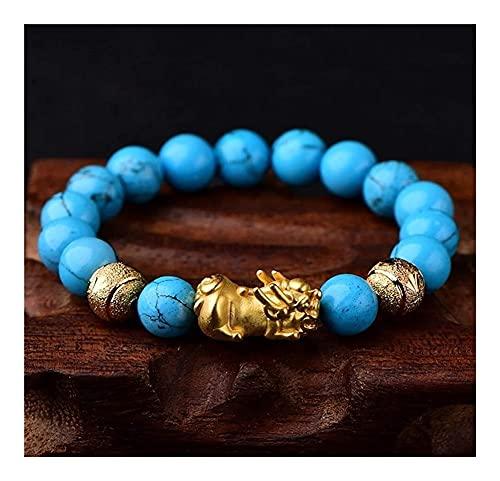 Feng shui dorado pixiu riqueza pulsera prosperidad azul turqueso vietnamita oro pi yao brazalete natural piedra preciosa curación chakra cristal pulsera amuleto para dinero buena suerte, 14 mm AnimeFi