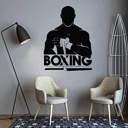 Calcomanías artísticas de vinilo para pared, gimnasio, Fitness, Boxer, deporte, entrenamiento, ejercicio, músculos, decoración del hogar, boxeo, lucha, deportes, pegatina de pared, póster 42x56cm