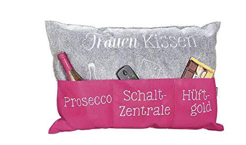 GILDE - 45517 - Frauen Kissen, Stoff, pink, grau, 60cm x 40cm, Polyester, waschbar