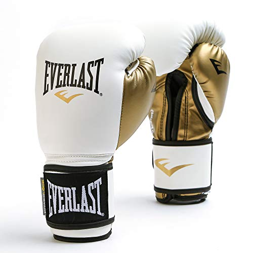 Everlast Women's Powerlock Hook/Loop Gloves, 12 oz, White/Gold