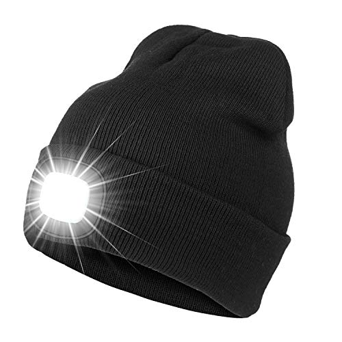 Bosttor LED Beanie Hat with Light, Rechargeable Bright LED Headlamp Cap, Unisex Winter Warm Knitted Hats, Headlight Torch for Running Hiking Camping,Tech Gifts for Men Women Handyman Teens, Black