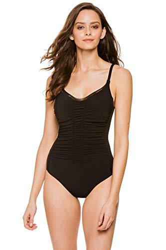Shan Women's Classique Shirred Lingerie Strap One Piece Swimsuit Caviar 6