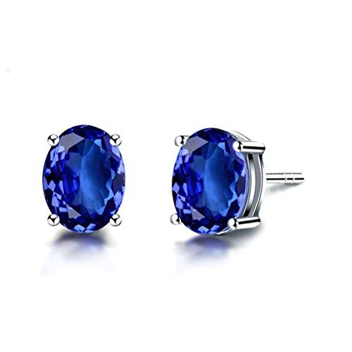 Jade Angel 18 ct Gold Oval Cut Synthetisch Tansanit Ohrstecker Ohrringe für Frauen Hochzeit Schmuck