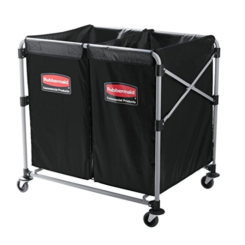 Rubbermaid Commercial Products, Collapsible X Cart - Commercial Industrial Laundry Cart with Wheels, Steel, Multistream - 2 (4 Bushel), 36' L x 7' W x 34' H, Black