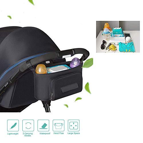 JIOUDI Kinderwagen Organizer Tasche Buggy Aufbewahrungstasche Kinderwagen Mummy Tasche Kinderwagen Zubehör Tasche mit Schnalle Klettverschluss Universal Schwarz Wasserdicht