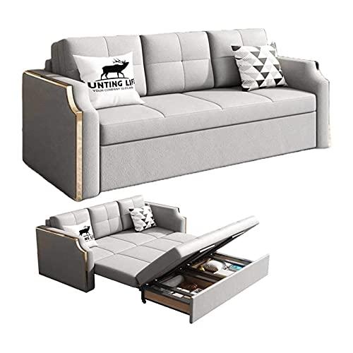 Tolalo 2 en 1 sofá cama Convertible Scouch Sleeer 3 plazas con 2 cojines de tela de lino, con cama de extracción y espacio de almacenamiento grande, para habitación de huéspedes, sala de estar, ahorro