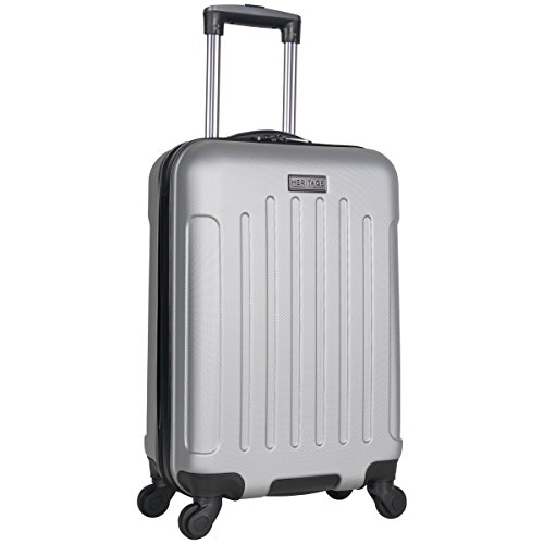 Heritage Travelware Lincoln Park 20' Hardside 4-Wheel Spinner Carry-on Luggage, Light Silver