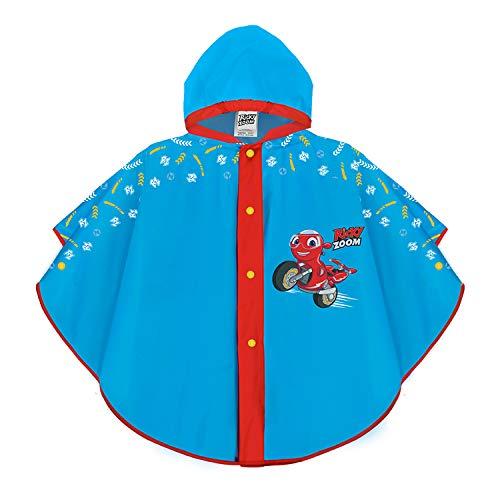 PERLETTI Ricky Zoom Mantellina Pioggia Azzurra Bimbo 2/5 Anni - Poncho Impermeabile Bambino Cartone Animato Moto Ricky e Loop - Mantella Antipioggia Bimbo con Cappuccio e Bottoni (2-5 anni, Azzurro)