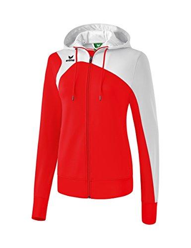 Erima Damen CLUB 1900 2.0 Trainingsjacke mit Kapuze, rot/Weiß, 38