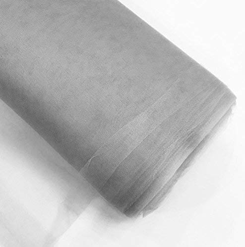 """Craft and Party, 54"""" by 40 Yards (120 ft) Fabric Tulle Bolt for Wedding and Decoration (Silver)"""