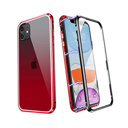 YUNQE Funda para iPhone 11 Carcasa con Marco Metálico Magnético y Cristal Templado de Doble Cara Protector de Pantalla y Protección de Lente Compatible con Cargador Inalámbrico Roja y Negra