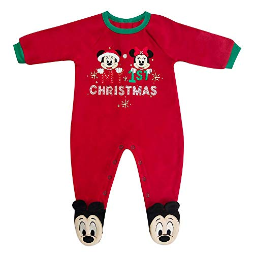 Disney Mickey and Minnie Mouse Holiday Blanket Sleeper for Baby, Size 3-6 Months