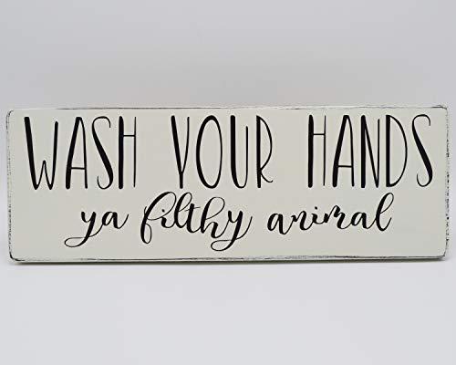 Tamengi Holzschild Wash Your Hands Ya Filthy Tierschild, Waschen Sie Ihre Hände, schmutziges Tierschild, lustiges Badezimmerschild Fixer Oberstil Bauernhaus Dekor