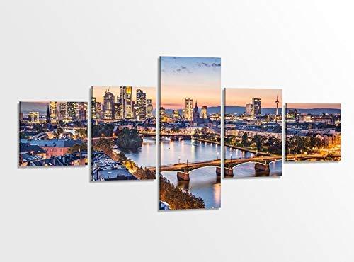 Leinwandbild 5 tlg. 200cmx100cm Skyline Frankfurt Brücke Landschaft Bilder Druck auf Leinwand Bild Kunstdruck mehrteilig Holz gerahmt 9AB379