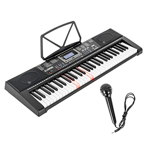 LAGRIMA 61-Key Electronic Keyboard Piano w/Light-Up Keys for Beginner(Kid/Adult), Lighted Portable Keyboard w/Micphone, Power Supply, Music Stand, Dual Power Supply(Power Adapter or 6 AA Batteries)