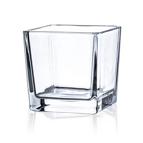 Matches21 - Jarrón de cristal pequeño cuadrado (1 unidad, 10 cm cada uno)