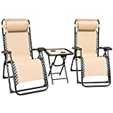 GOLDSUN 3 PCS Zero Gravity Chair Foldable Patio Chaise Lounge Chairs Outdoor Adjustable Recliner Folding Lounge Table Chair Set for Backyard Porch and Swing Poolside (Beige)