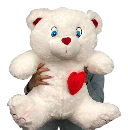 Big Plush 2 Foot Teddy Bear 24 Inches Soft White Plushie with Red Nose and Heart on Chest