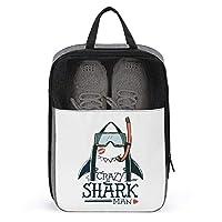 ゴルフシューズケース 靴入れ クレイジー サメ 収納バッグ シューズケース 防水 シューズバッグ 中身が見える ダブルジッパー式 靴袋 持ち運びに便利 シューズ袋 小物入れ 1足収納 防塵 家庭用 旅行 出張