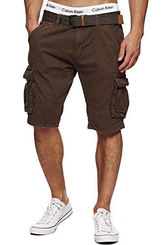 Indicode Herren Monroe Cargo ZA Shorts m. 6 Taschen inkl. Gürtel aus 100% Baumwolle | Kurze Hose Bermuda Sommer Herrenshorts Short Men Pants Cargohose kurz Sommerhose f. Männer Dk Brown L