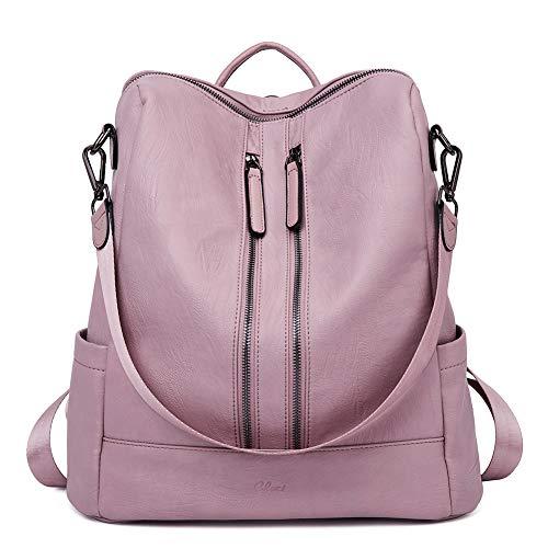 CLUCI Damen Rucksack Mode Leder Schultertasche Elegant Große Reiserucksack Leichter Tasche für Frauen 2 in 1 Rosa