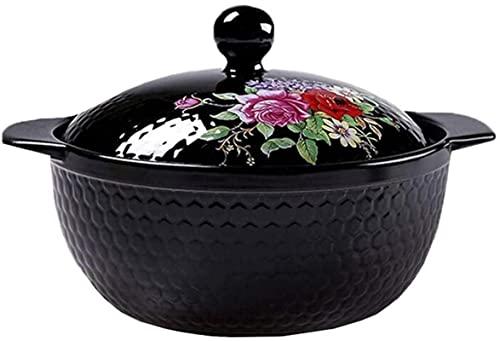 HYYDP Cacerolas Utensilios de Cocina Terracotta Casserole Pot - Material Duro Fácil de Limpiar Pan sin Palanca Incluso Calor (Color : A, Size : 4L)