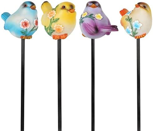 Wonderland Polycarbonate Home Decor Set of 4 Resin Bird with Stake