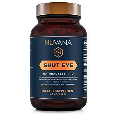 Shut Eye Sleep Aid | Natural Herbal Sleep Supplement Made with Valerian Root, Melatonin, Chamomile, Magnesium | Insomnia and Anxiety Relief | Adult Extra Strength Sleeping Pills | 60 Vegan Capsules