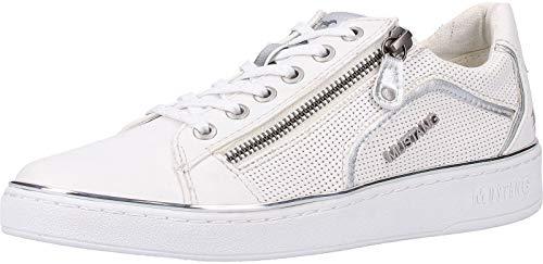 MUSTANG Damen 1300-303 Sneaker, Weiß (Weiß/Silber 121), 38 EU