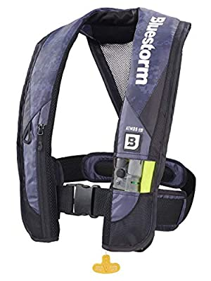 Bluestorm Gear Atmos 40 Inflatable PFD Life Jacket (Apex Black) | US Coast Guard Approved Automatic/Manual Life Vest for Adults