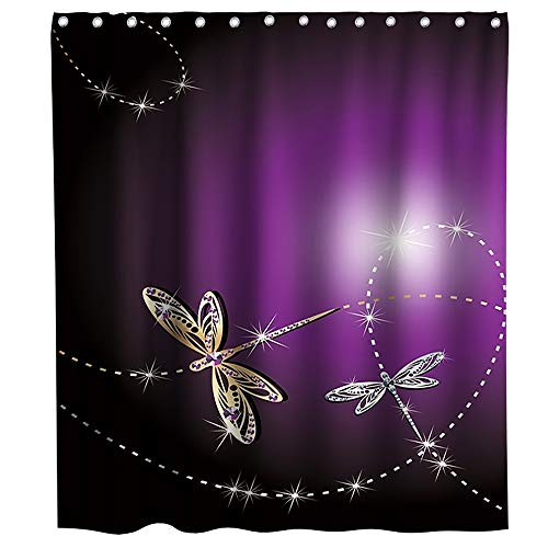 Lifeasy Elegant Gold Dragonfly Shower Curtain Sliver Cloth Fabric Bathroom Decor Set with Hooks Waterproof Washable 72 x 72 inches Purple