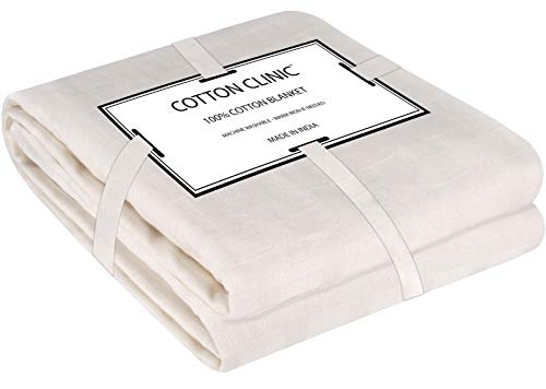 Cotton Clinic Bed Blanket Queen/Full Size, Cotton Thermal Bed Blanket Queen/Full, Perfect for Layering Any Bed for All Season, Soft and Breathable...
