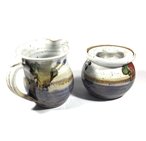 Market Chirp Artisans Stoneware Sugar and Cream Bowl Set, Lead Free, Microwave and Dishwasher Safe