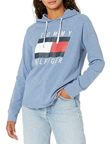 Tommy Hilfiger Damen Hooded Long Sleeve T-Shirt Hemd, True Blue Heather, X-Groß