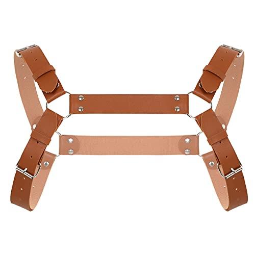 Freebily Cinturón de Arnés de Pecho de Cuerpo de Cuero para Hombre Arnés de PU Cuero Ajustables Correas de Pecho Traje de Arnés Cinturón con Anillas Metálicas Lencería Erótica Marrón B One Size